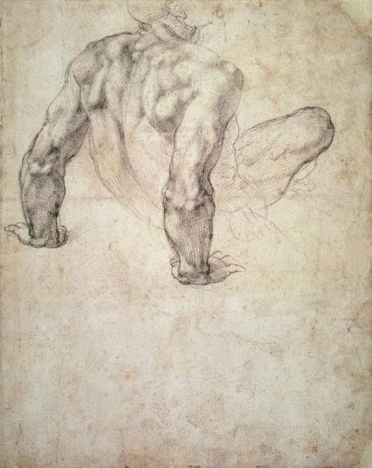 Michelangelo Buonarroti -Studio di un uomo nudo che si appoggia indietro sulle sue mani