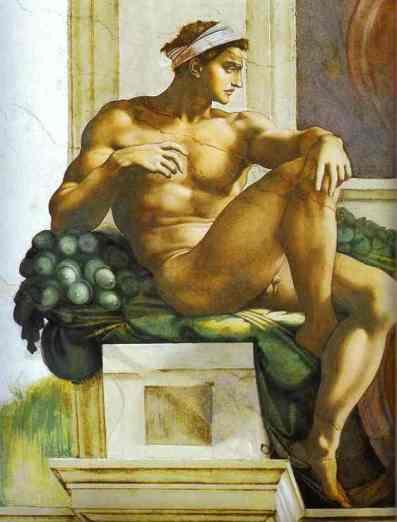 Michelangelo+Buonarroti+-+Ignudi+