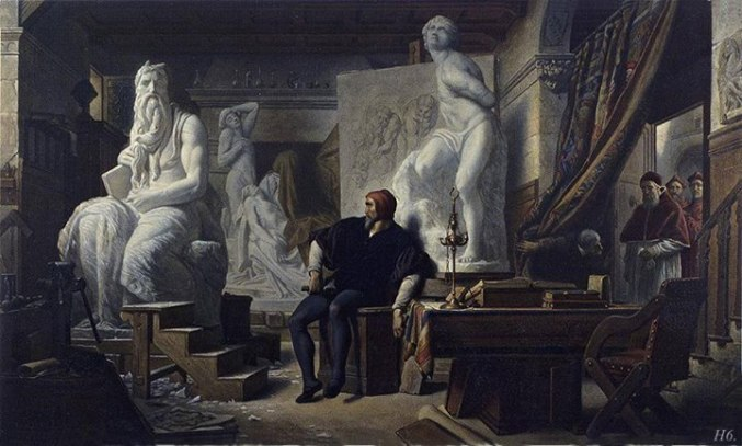 Alexandre Cabanelichelangelo nel suo studio visitato da papa Giulio II