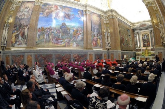 Pope Benedict XVI leads a service to commemorate the restoration of the Pauline Chapel at the Vatican