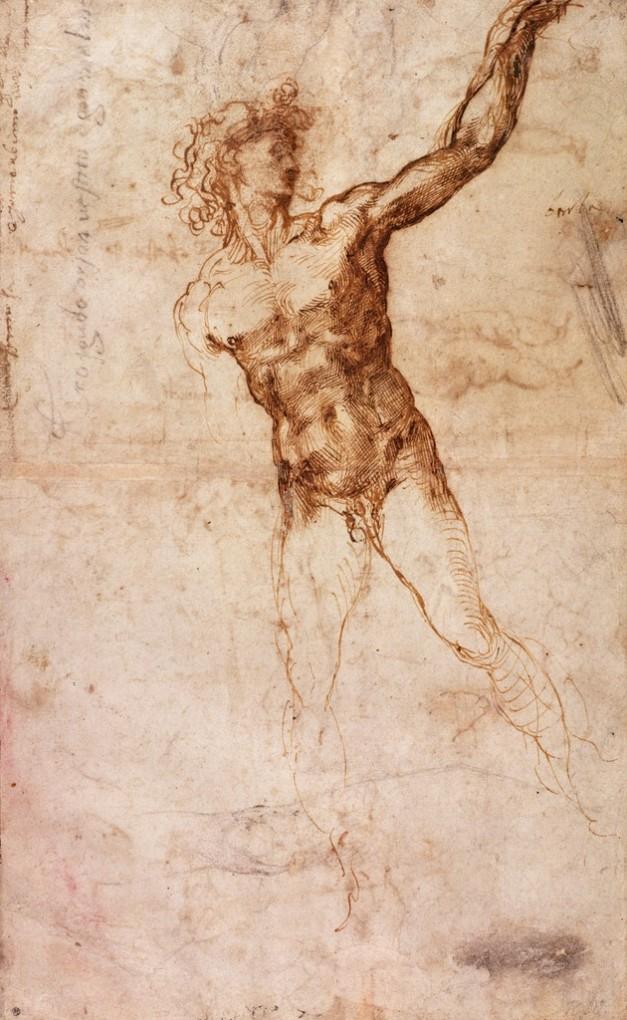 Michelangelo Buonarroti - Schizzo di un uomo nudo