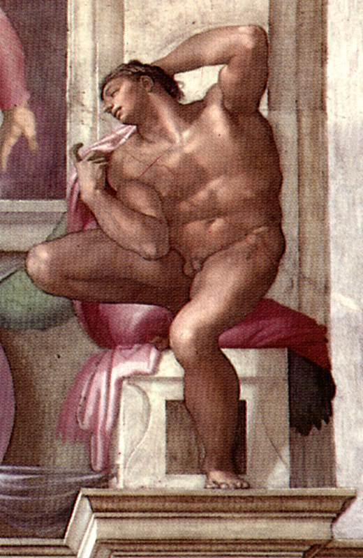 Michelangelo_Sistine_Chapel_-_Ignudo_above_Libyan_Sibyl_-_restored