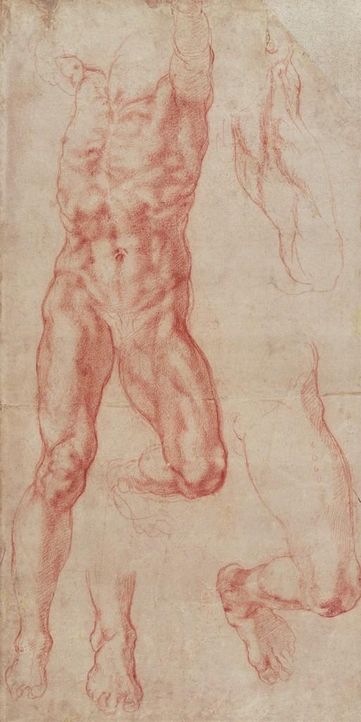 Michelangelo Buonarroti -Studio di un uomo nudo che si estende verso l'alto