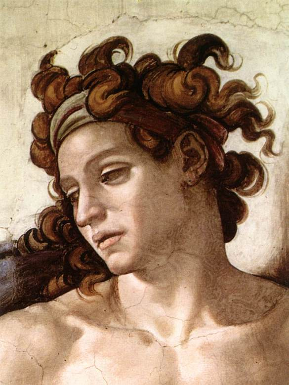 Michelangelo_-_Sistine_Chapel_-_Ignudo_(detail)_-_1509