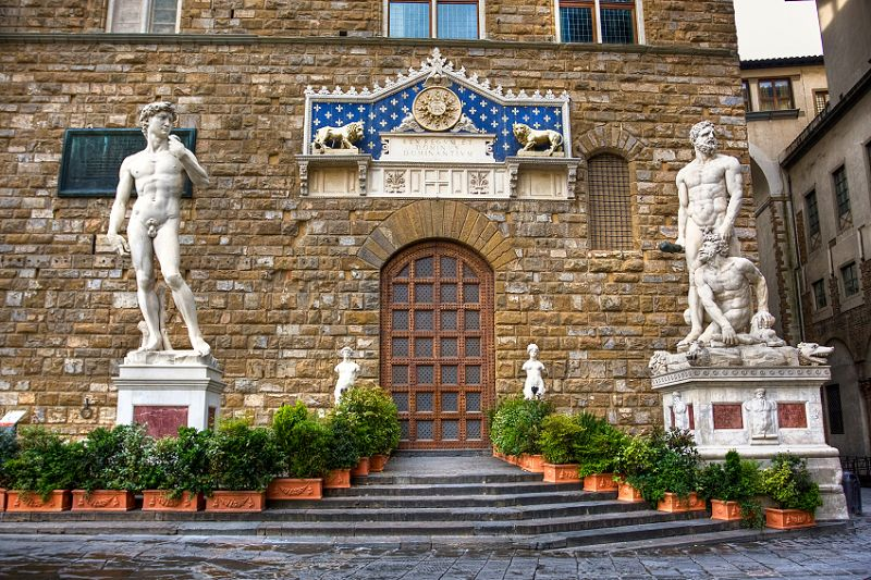 Sculptures of David and Hercules killing Cacus. Florence. Italy