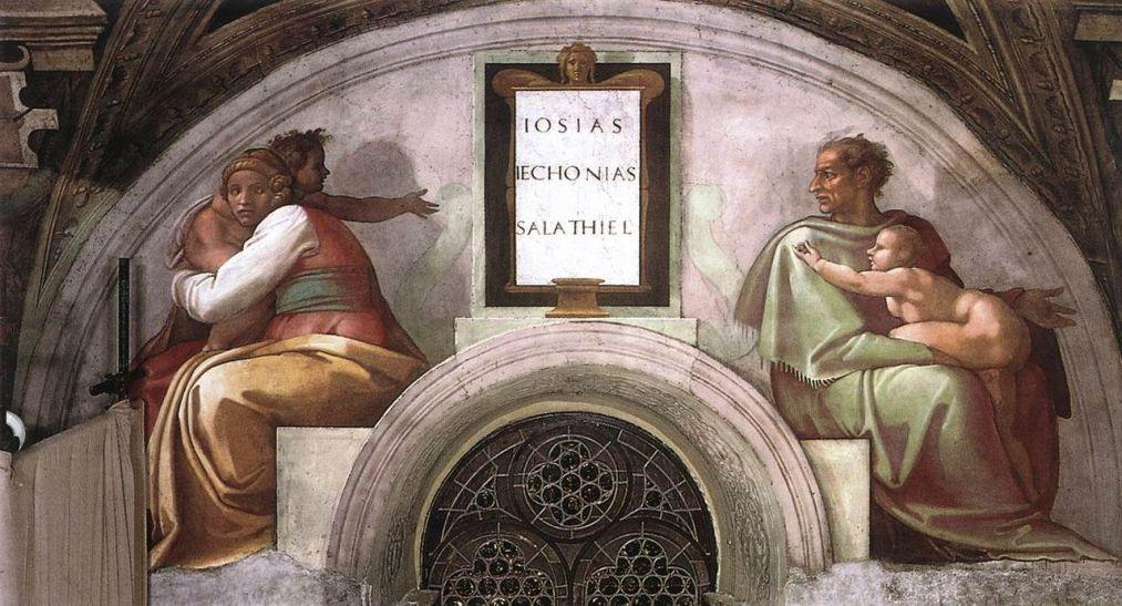 1280px-Michelangelo,_lunetta,_Josiah_-_Jechoniah_-_Shealtiel_01