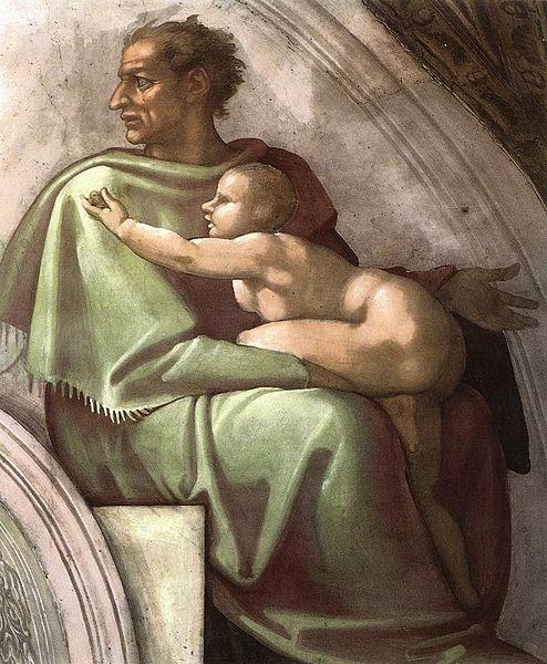 494px-Michelangelo,_lunetta,_Josiah_-_Jechoniah_-_Shealtiel_03