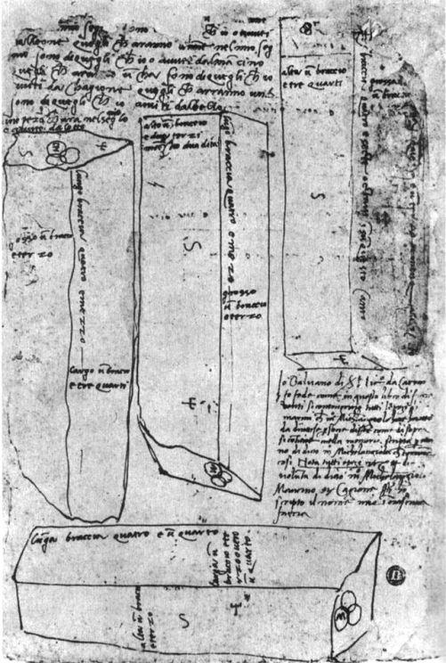 Michelangelo,_schizzo_esplicativo_per_cavatori_con_blocchi_e_misure,_casa_buonarroti
