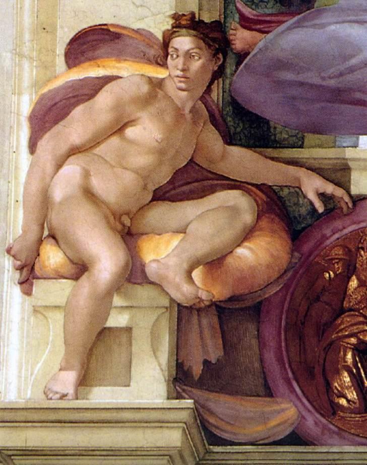Michelangelo_Sistine_Chapel_-_Ignudo_above_Cumaean_Sibyl_-_restored