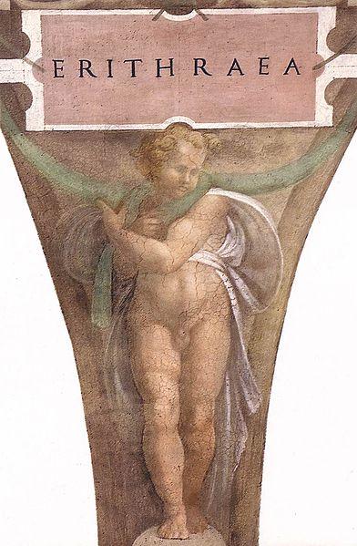 392px-Sistine_Chapel_-_Michelangelo_-_Figure_below_the_Erythraean_Sibyl_(unrestored)