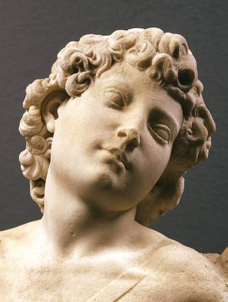 BEN140569 Head of the 'Manhattan' Cupid, c.1494-96 (marble) (detail) by Buonarroti, Michelangelo (1475-1564) (attr.to) marble Louvre, Paris, France Italian, out of copyright