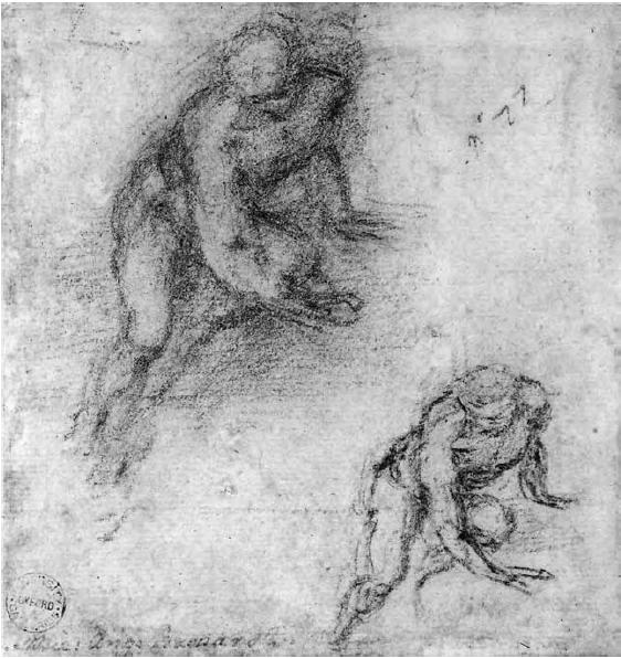 Michelangelo Buonarroti - Due studi di un uomo nudo in torsione