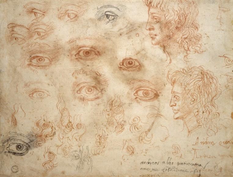 Michelangelo Buonarroti -Studio di occhi e di due teste di profilo