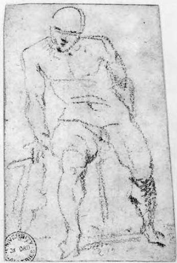 Michelangelo Buonarroti - Un uomo nudo seduto