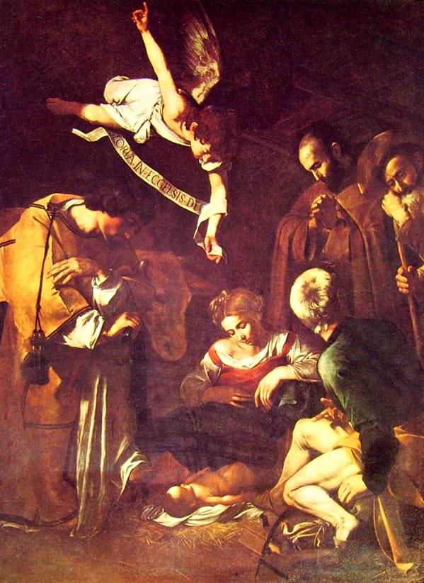 53 Caravaggio-La natività con i santi Francesco e Lorenzo