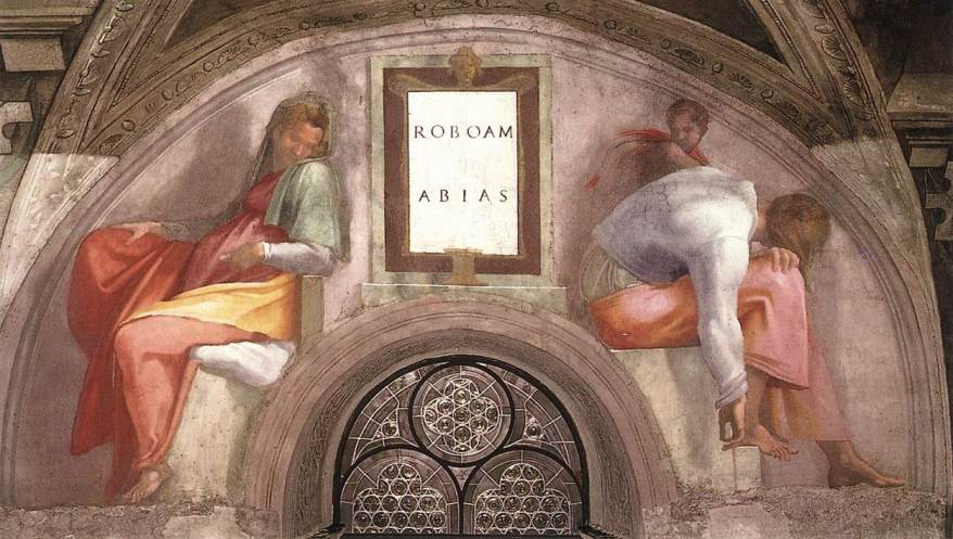 Michelangelo,_lunetta,_Rehoboam_-_Abijah_01