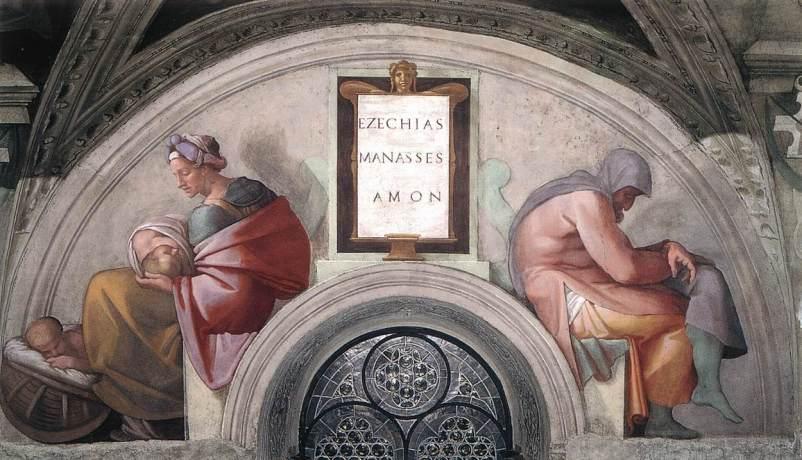 Michelangelo_-_Sistine_Chapel_ceiling_-_Lunette_-Hezekiah_-_Manasseh_-_Amon-