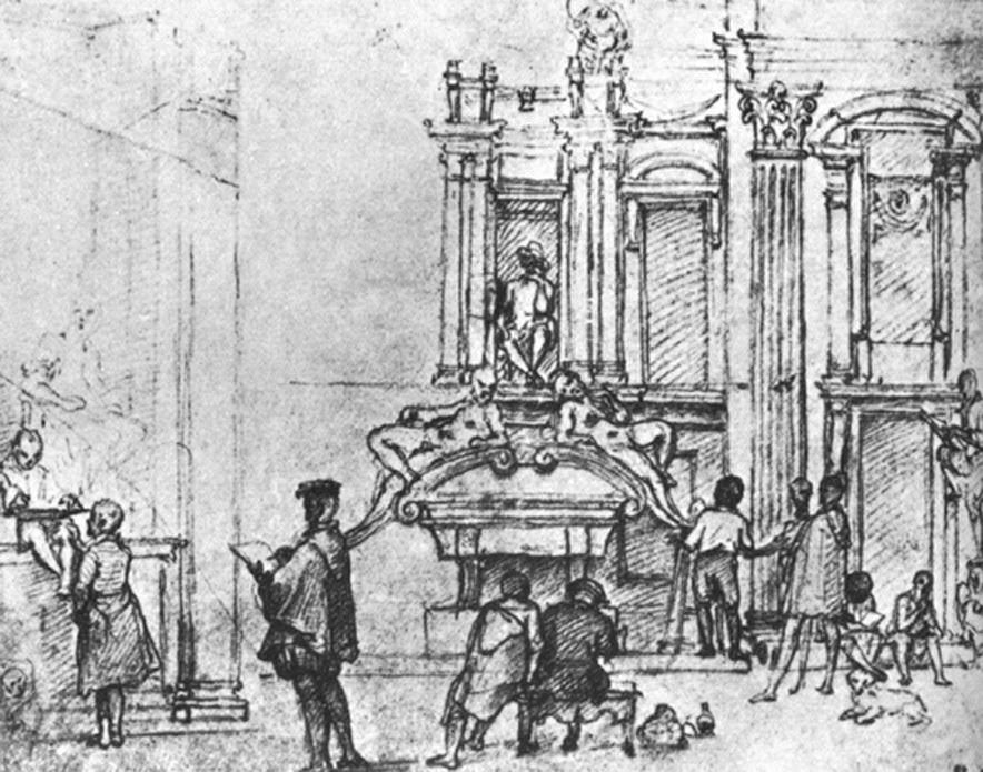 70 - Federico Zuccari, Artisti nella Sagrestia nuova (1575-79), Louvre, Parigi