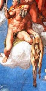 San-Bartolomeo-Apostolo-con-le-sembianze-dell_Aretino-di-Michelangelo-censurato-154x300